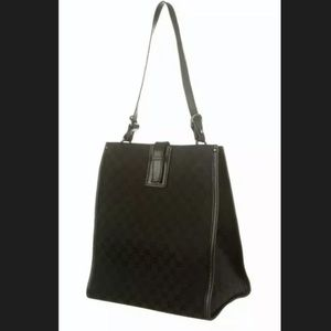 Authentic Gucci Black GG Canvas Shoulder Tote Bag